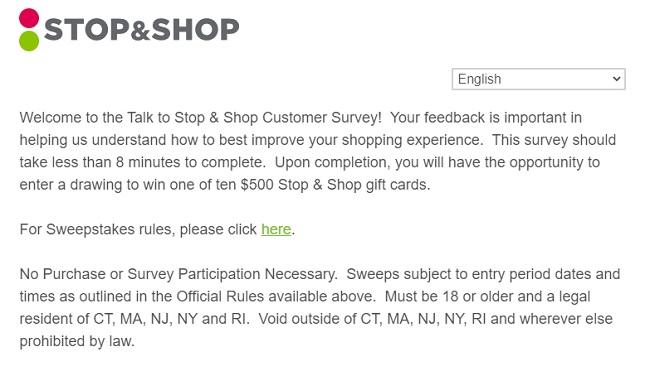 www.TalkToStopAndShop.com Survey page